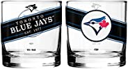 MLB Toronto Blue Jays Black Label Rocks Glass, 2-Pack