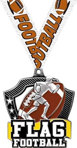 フラッグフットボールメダル - 2.25インチ シルバー フラッグ フットボール チーム メダル 賞 プライム
