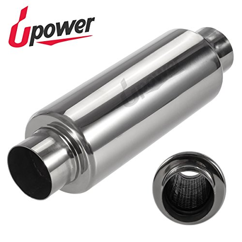 Upower Exhaust Turbine Muffler   Resonator 2506   304 Stainless Steel   2 5  Inlet Outlet