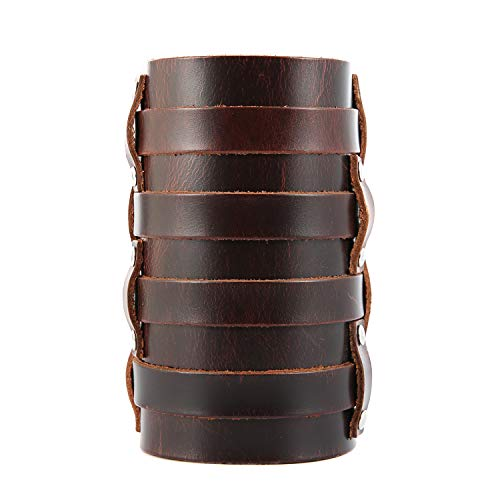 HZMAN Mens Leather Wide Triple Strap Cuff Wrap Gauntlet Wristband Buckle Fastening Arm Armor Cuff (Brown - 4 Rows)