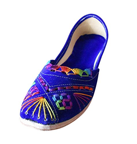 mit Designer Traditionelle Kalra indische Creations Blau Schuhe Samt Damen Stickerei wnX0qBU0x