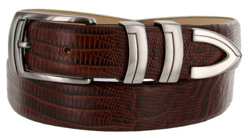 8191 Italian Calfskin Leather Designer Dress Belts (Lizard Brown, 34)