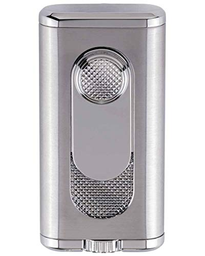Verano Flat Flame Cigar Lighter in an Attractive Gift Box Lifetime Warranty Silver