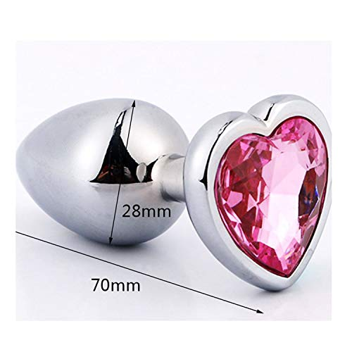 Woodrow Nora Smooth Touch Metal Anal Plug with Crystal Jewelry Butt Plug with Rhinestone No Vibrator Anal Beads Sex Toys for Men/Women Heart Small