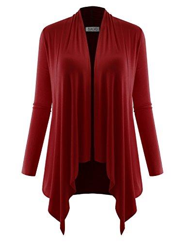 BIADANI Women's Long Sleeve Draped Open Cardigan Burgundy Small