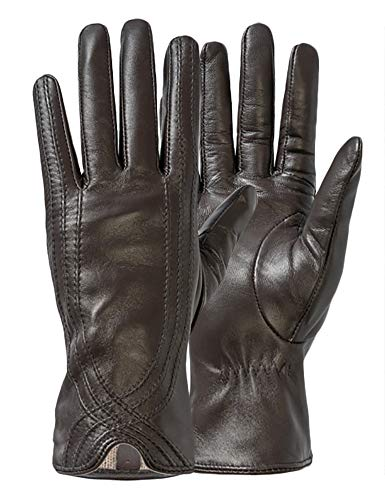 Women Leather Gloves, Ruffle Italian Genuine Leather Nappa Elegant Driving Warm Gloves Coffee