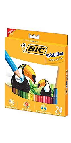 BIC Evolution 902638, Lápis de Cor Sextavado, 24 Cores
