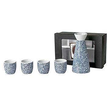 Miruike - Juego de 5 sartenes de cerámica hechas a mano, diseño de sake japonés con caja de regalo: Amazon.es: Hogar