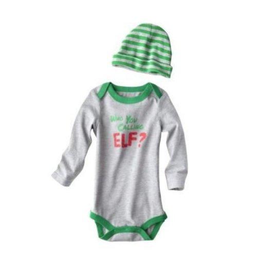 Cherokee Infant Boys Who You Calling Elf Onesie Christmas Bodysuit & Hat Set 3m ()