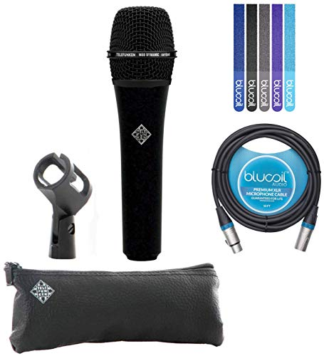 Telefunken M80 Black Handheld Dynamic Supercardioid Vocal Microphone with Carrying Case Bundle with Blucoil 10-Ft XLR Cable and 5-Pack of Reusable Cable Ties ()