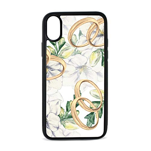 Case for iPhone Wedding Ring Romantic Couple Diamond Digital Print TPU Pc Pearl Plate Cover Phone Hard Case Cell Phone Accessories Compatible with Protective Apple Iphonex/xs Case 5.8 Inch (Wedding Freesia Bouquet)