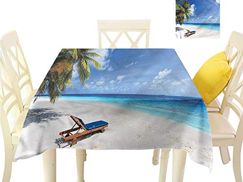 (WilliamsDecor Table Cover Seaside,Tropical Sandy Beach Trees Small Tablecloth W 60