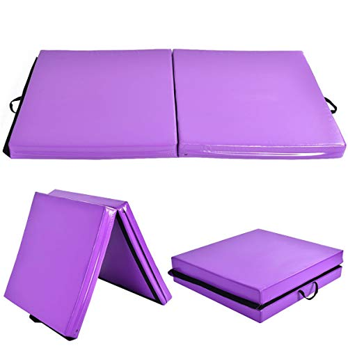 "GOFLAME Gymnastics Mat 6'x3.2'X4"", Thick Folding Gym Practice Panel Exercise Mat with Carrying Handles, Gymnastic Floor Mat for Tumbling, Aerobics, Yoga, Stretching, Martial Arts, Purple"