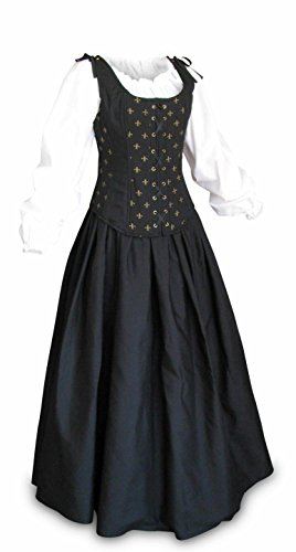 Renaissance Faire Wench Pirate Gown Medieval Dress 3 Piece Set Black