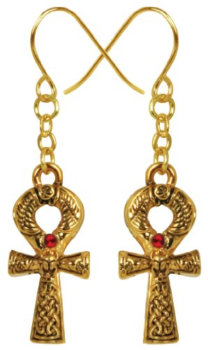Ebros Gift Design Doranne Ancient Egyptian Golden Scarab Ankh Earrings Lead Free Pewter Jewelry Accessory