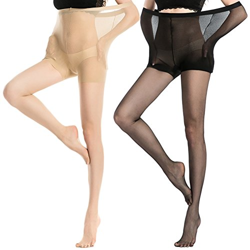 1870e23f4 MANZI Women s 2-4 Pairs Control Top Pantyhose High Waist Plus Size Tights  Ultra-Soft