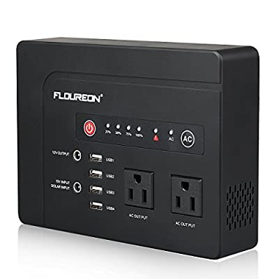 FLOUREON Portable Power Station 200W, 146wh/42000mAh Solar Generator Backup Power Bank Supply with 110V AC Outlet 4 USB Output 2 DC Output LED Flashlight Charged by Solar Panel/Wall Outlet/Car Charger