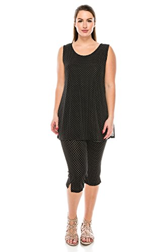 Jostar Women's Stretchy Tank Capri Pant Set Print Large Black (Dot Capri Set)