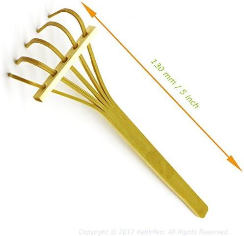 Kebinfen® Kit Outils de Ciseaux Bonsaï - Ciseaux d'élagage, Ciseaux de Feuilles et bourgeons, Râteau en Bambou - Set de 3