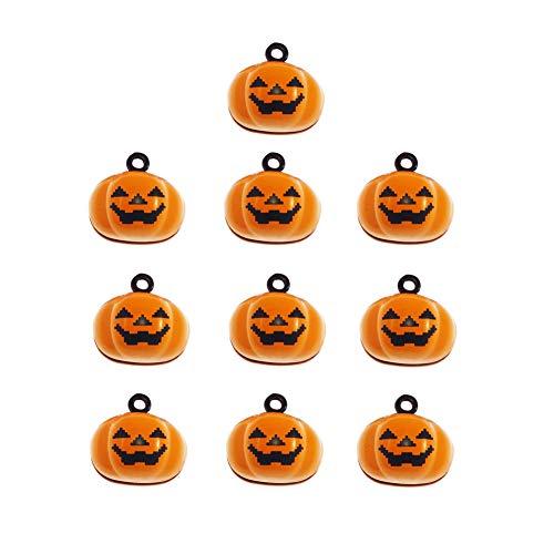 Stock Show 10Pcs/Pack Pumpkin Bells Pet Collar Charm Bells Laughing Cute Yellow Pumpkin Shape Bells Home Party Halloween Decoration Clothes Jewelry Pendants DIY Crafts Accessories -