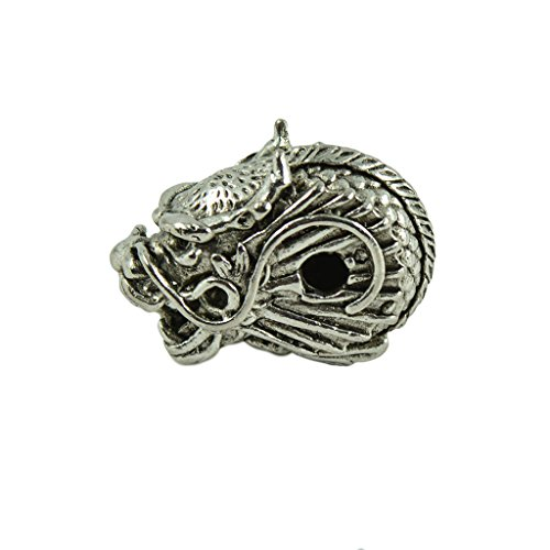 Dovewill 2Pieces Tibetan Silver Brass Antique Dragon Head Spacer Beads For Bracelet