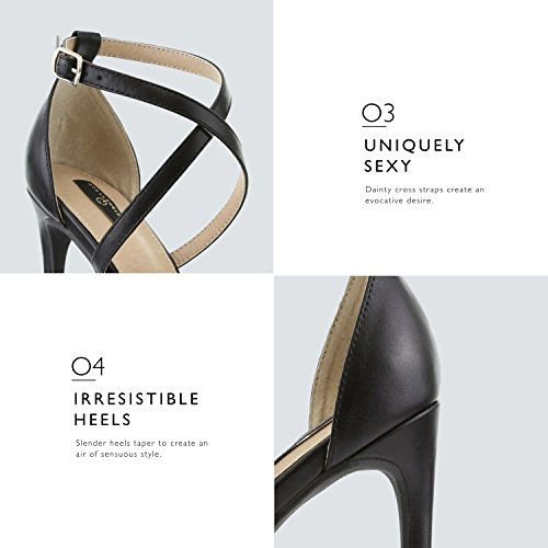 DailyShoes Women's Evening Dress Toe Strap Cross Open Shoes Platform Pu High Ankle Pump Sandal Premium Black Heel Party Casual Buckle Leather 44rw7