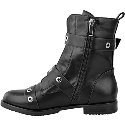 Mode Assoiffé Femmes Biker Plat Boucle Cheville Bottes Cloutées Bracelet Punk Chaussures Taille Noir Simili Cuir