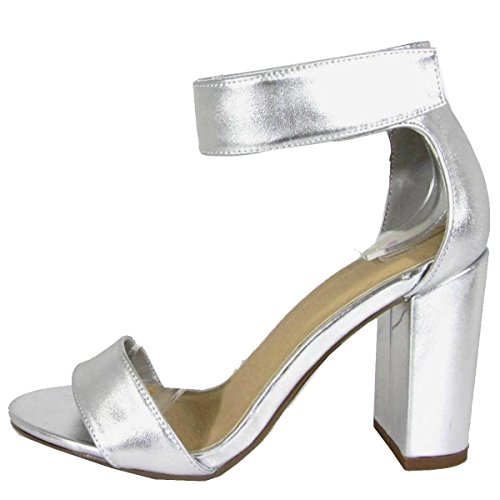 Delicious Women's Single Band Ankle Strap Chunky Block High Heel Dress Sandal,6 B(M) US,Silver