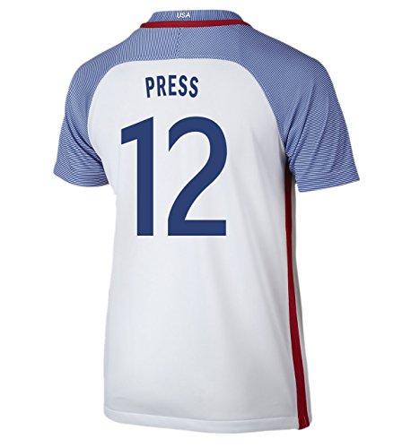 (Nike Press #12 USA Home Soccer Jersey Rio 2016 Olympics Youth. (YXS) White)