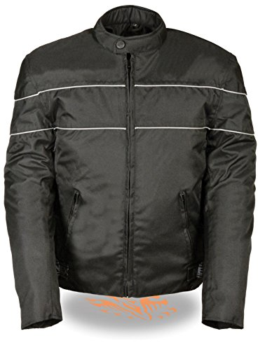 Nexgen MEN'S MOTORCYCLE SCOOTER VENTED TEXTILE JACKET W/REFLECTIVE PIPING GUN POCKET (L Black)