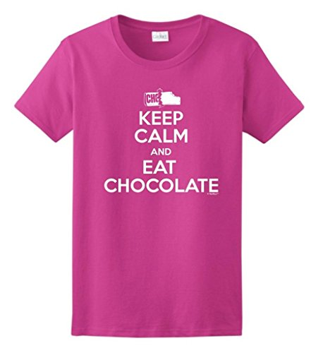Keep Calm and Eat Chocolate, Candy Lover's Ladies T-Shirt Large Heliconia ()