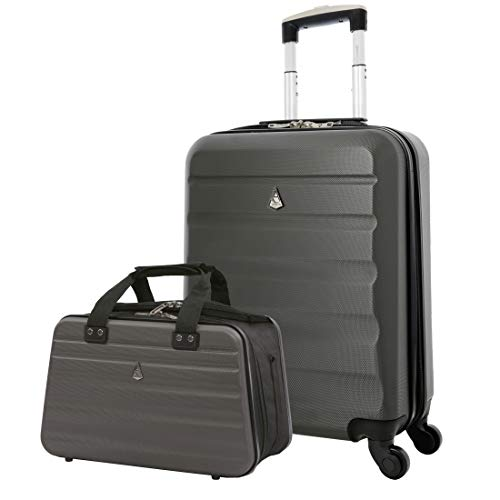 Aerolite Ryanair Maximum Size Set – 55x40x20 ABS 4-Wheel Cabin Bag Suitcase + 40x20x25 Carry On Shoulder Flight Luggage…