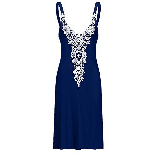 Mikey Store Women Casual Sling Boho Lace Sleeveless V Neck Backless Sling Sundress Aline Beachwear Mini Dress Vestidos Blue ()