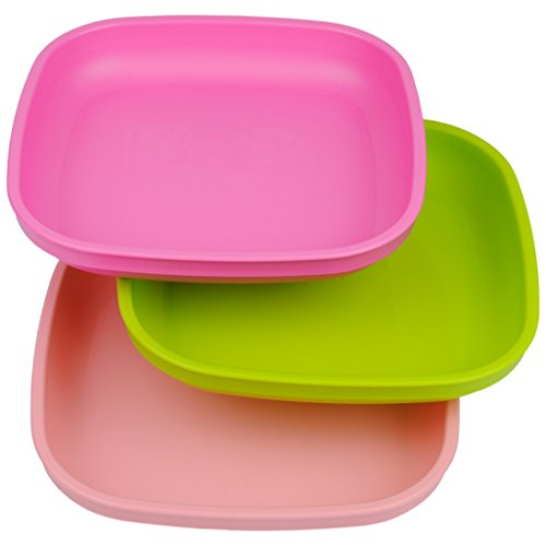 UPC 098601802321, Re-Play Made In USA 3pk Plates with Deep Sides for Easy Baby, Toddler, Child Feeding - Bright Pink, Green, Baby Pink (Tulip)