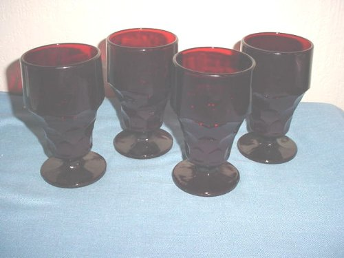 Set of 4 Royal Ruby Georgian Footed Goblets by Anchor Hocking