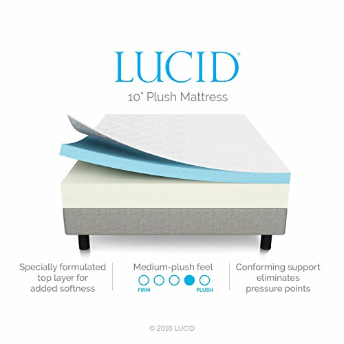 LUCID 10 Inch Gel Infused Memory Foam Mattress - Medium Plush Feel - CertiPUR-US Certified - 10 Year warranty - Queen