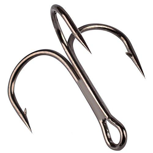 Z&S Fishing Hook Sharpened Treble Hooks 1/0# Treble Jig Hook Fish Hook Tackle Black (Pack of 100pcs)