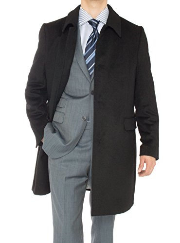 Luciano Natazzi Men's Cashmere Topcoat Classic Knee Length Trench Coat Overcoat (50 US - 60 EU, Black)