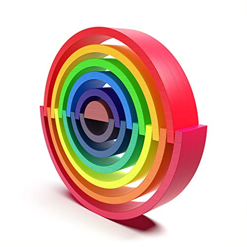 WAYES Waldorf Large 12-Piece Rainbow Tunnel Stacker Grimm's Wooden Rainbow Sunset Nesting Puzzle/Creative Sculpture Building Blocks Educational Learning Toys Gift Blocks Game for Kids Toddler Baby by WAYES (Image #1)