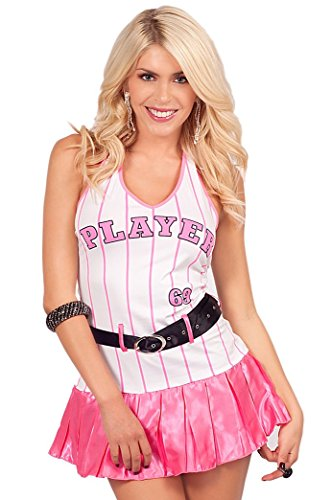 [Sexy Halter V-Neck Baseball Player 69 Striped Mini Pleated Halloween Costume] (Baseball Player Costumes Women)
