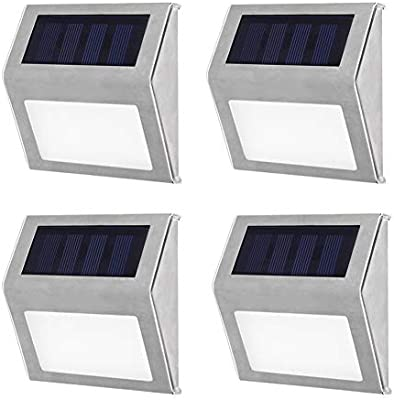 Escalera solar Luces LED Paso solar Luz Camino Vía Lámparas de jardín Patio de pared de acero inoxidable El exterior ilumina las lámparas de patio (4 pcs): Amazon.es: Iluminación