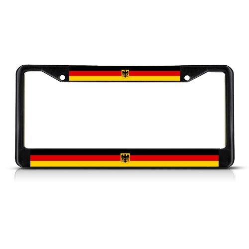 GERMANY SEAL DEUTSCHLAND FLAG Black Metal Heavy Duty License Plate Frame Tag
