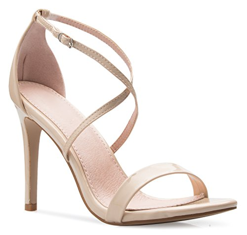 OLIVIA K Women's Elegant Cross Strap High Heel Sandals - Wedding, Dress, Comfort, Sexy,Nude Patent,9 B(M) US Beige Leather Heels
