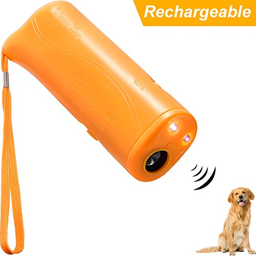 Maxdot Rechargeable LED Ultrasonic Dog Repeller Anti Barking Stop 3 in 1 Device Ultrasonic Dog Training, Yellow (Rechargeable)