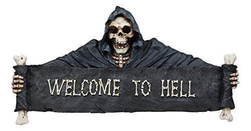 Ebros Large Grim Reaper Skeleton Opening Scroll Sign of Bones Saying Welcome to Hell Wall Decor 17.5