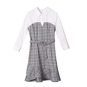 Trajes con falda Vestido Largo Medio Irregular Camisa Costura De ...