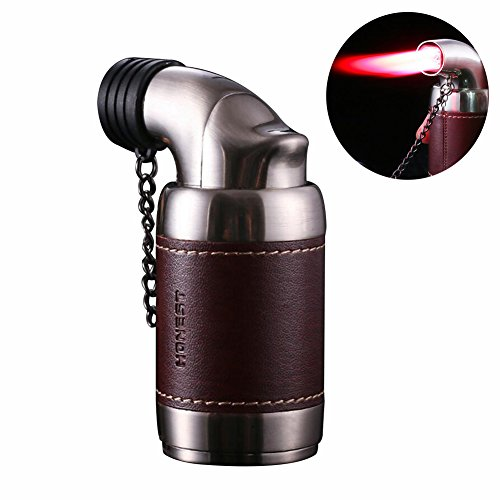 Honest Quad Torch Lighter Tabletop Refillable Butane Gas Red Flame Cigar Tobacco Lighter with Cigar Punch,Dark Red