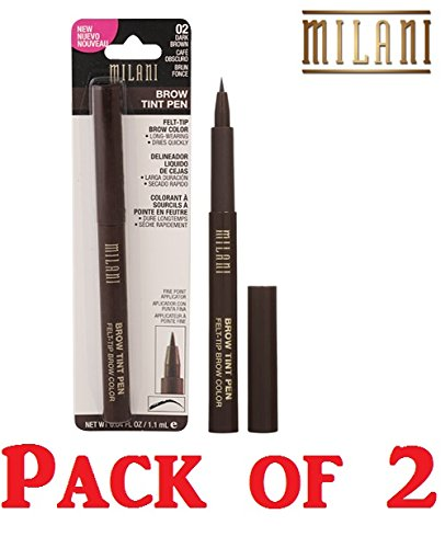 Milani Brow Tint Pen, 02 Dark Brown (Pack of 2)