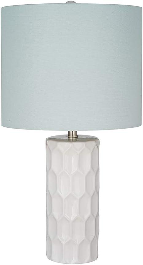 Amazon Brand Ravenna Home Mid Century Modern White Ceramic Table Lamp With Led Light Bulb 21 Inches Light Blue Linen Shade