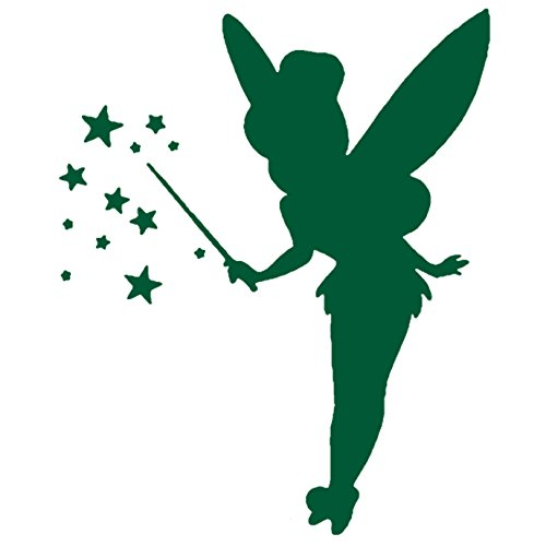 Tinkerbell LOGO ICON SYMBOL (GREEN) (set of 2) - silhouette stencil artwork by ANGDEST - Waterproof Vinyl Decal Stickers for Laptop Phone Helmet Car Window Bumper Mug Cup Door Wall Home Decoration